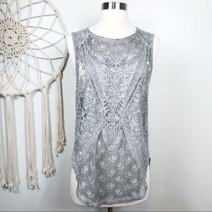 Free People Gray Sleeveless Crochet Lace Top